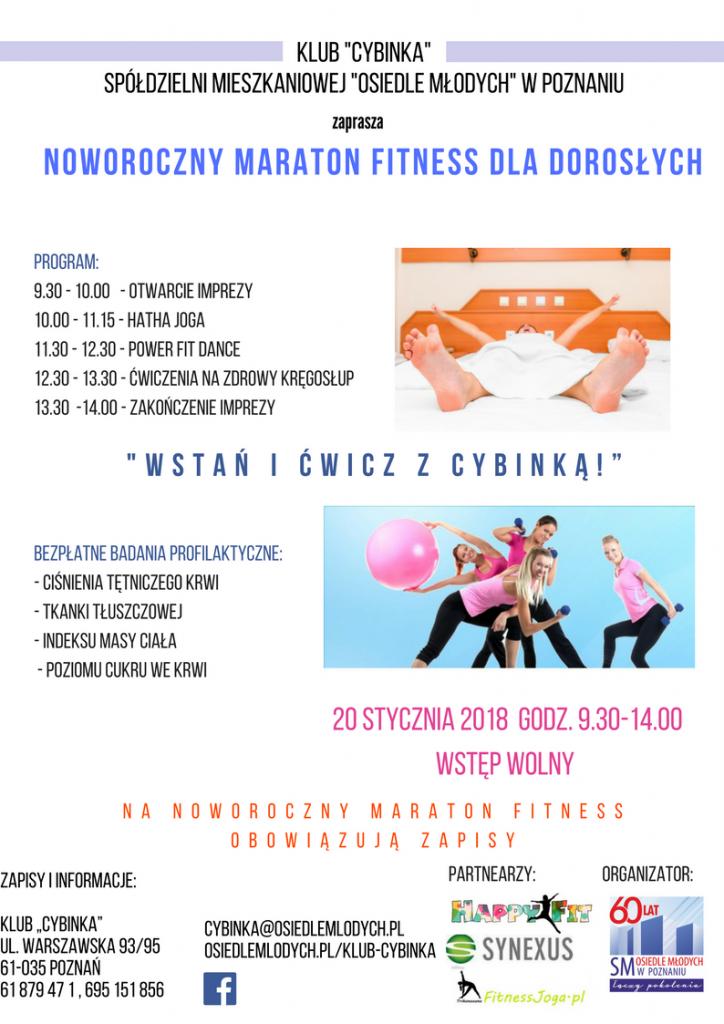 """Noworoczny Maraton Fitness dla dorosłych """"Wstań i ćwicz z Cybinką!"""""""